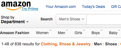Amazon breadcrumb navigation