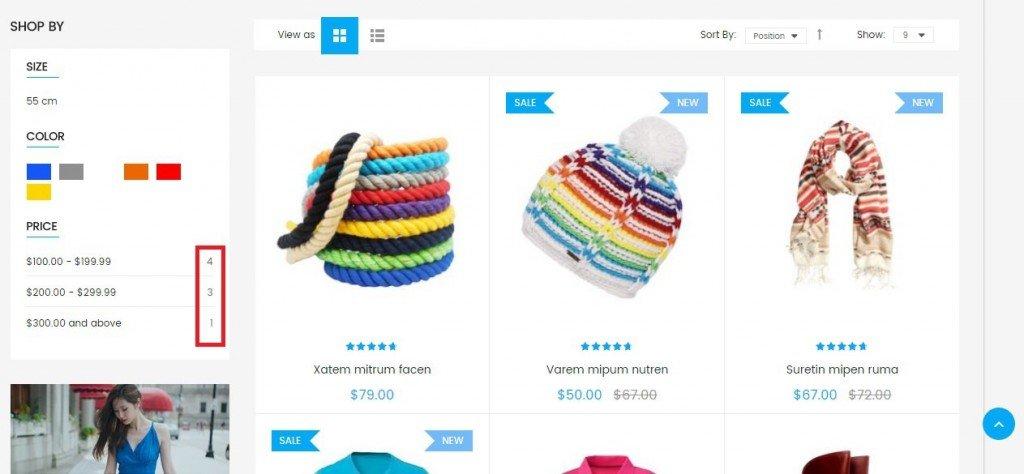 China eCommerce development product filter option