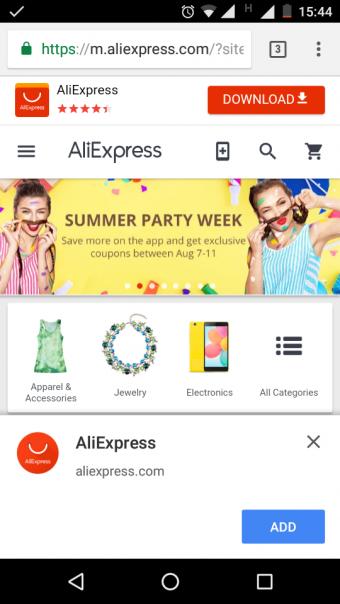 Aliexpress PWA