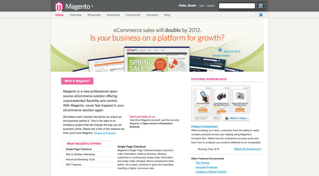 Magento in 2007. Version 0.6 and Magenta colored logo
