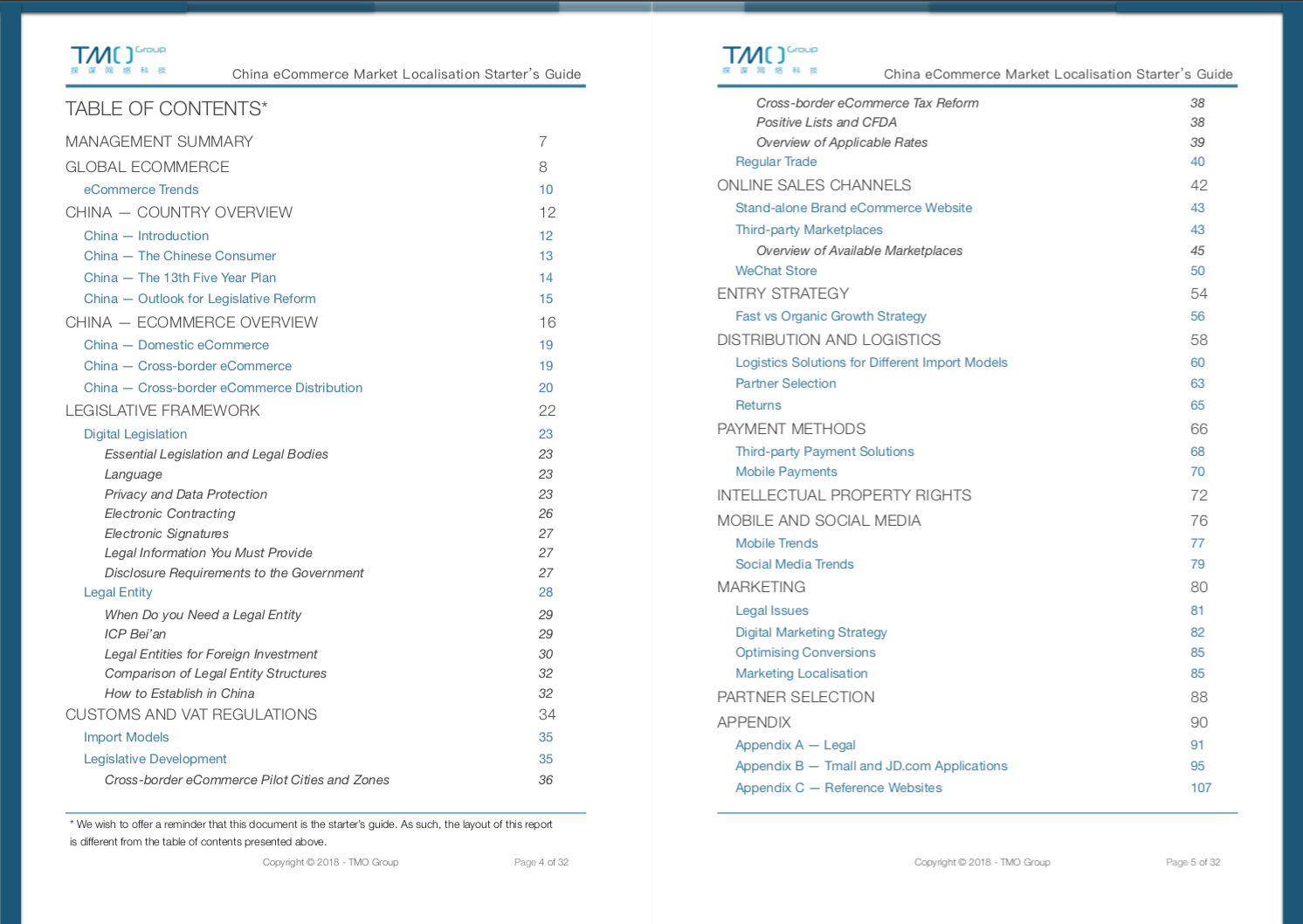 China eCommerce Market Localisation Starter's Guide - Table of Contents